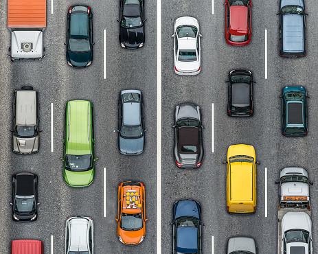 Mode of Transport「Colored cars on traffic lanes, Aerial View」:スマホ壁紙(4)