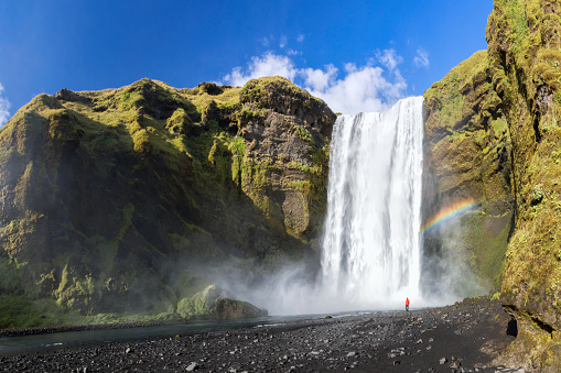 Unrecognizable Person「Great waterfall Skogafoss in south of Iceland」:スマホ壁紙(17)