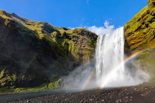 Unrecognizable Person「Great waterfall Skogafoss in south of Iceland」:スマホ壁紙(2)