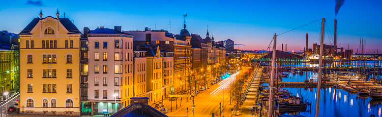Finland「Helsinki waterfront panorama apartment buildings harbour illuminated at dusk Finland」:スマホ壁紙(8)