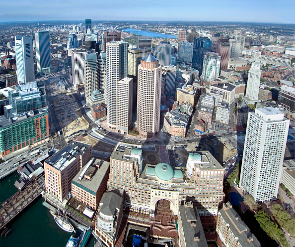 Urban Skyline「Morning Aerial of downtown Boston, USA」:写真・画像(1)[壁紙.com]