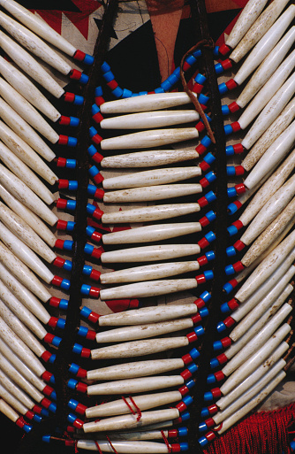 Indigenous Culture「Detail of beads on native American Indian dress, Cherokee, United States of America」:スマホ壁紙(4)