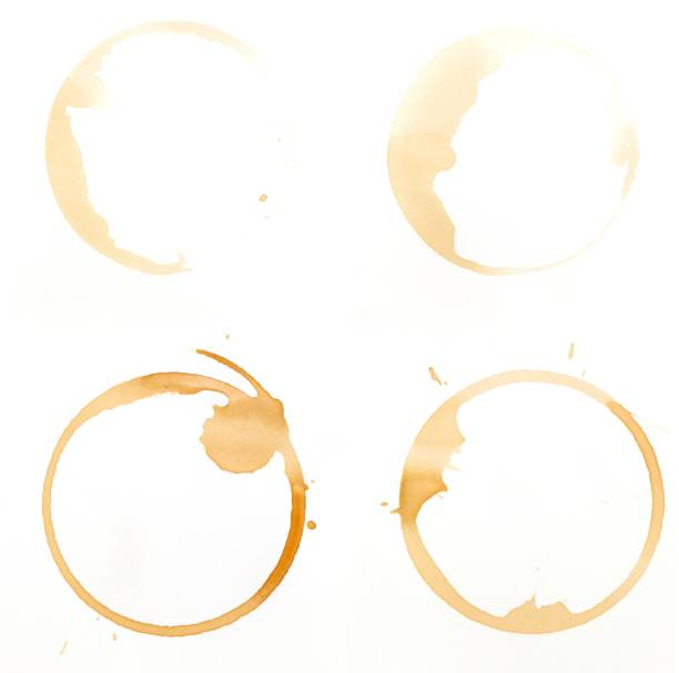 Coffee glass ring stains on a white background:スマホ壁紙(壁紙.com)