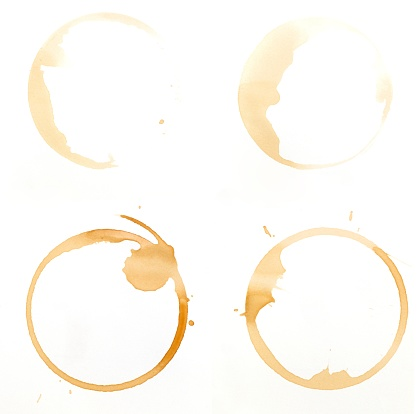 Stained「Coffee glass ring stains on a white background」:スマホ壁紙(1)