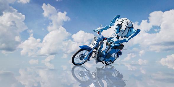 Motorcycle「Robot riding scooter」:スマホ壁紙(9)