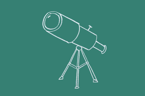 Cartoon「Telescope drawn on blackboard」:スマホ壁紙(16)