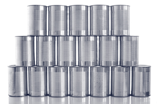 Merchandise「tinned food: generic steel tin cans stacked in rows」:スマホ壁紙(4)