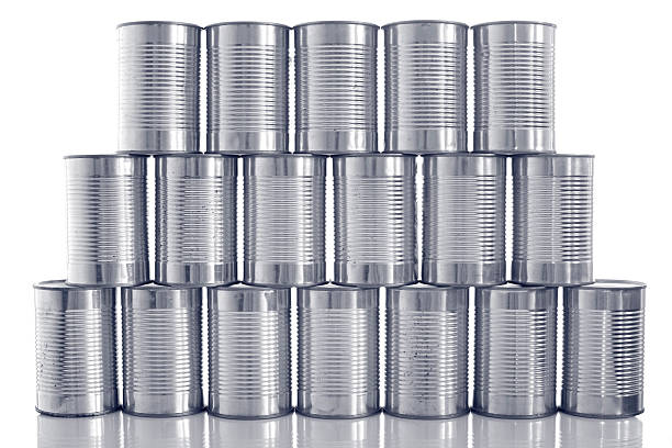 tinned food: generic steel tin cans stacked in rows:スマホ壁紙(壁紙.com)