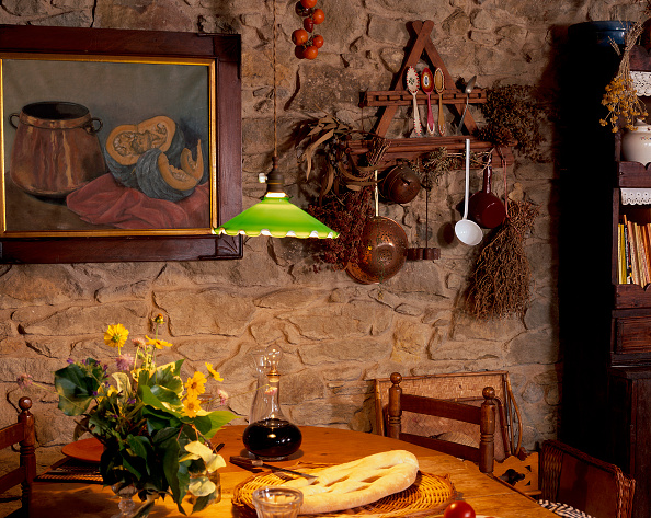 Dining Room「View of an illuminated lamp over a dining table」:写真・画像(1)[壁紙.com]