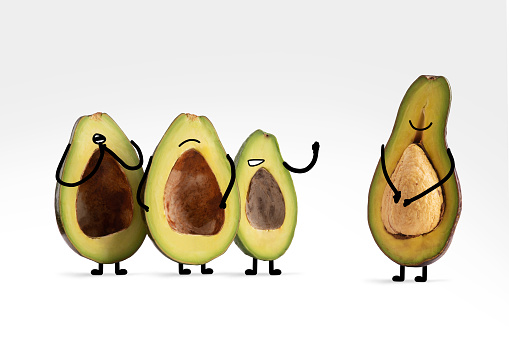 Cartoon「Happy avocado with illustrated facial features shows off his seed to three friends」:スマホ壁紙(11)