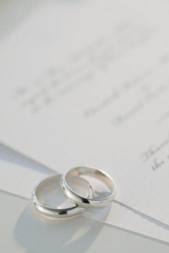 Wedding Invitation「Two wedding rings on marriage certificate, studio shot」:スマホ壁紙(4)