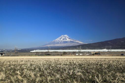 富士山「Bullet Train and Mount Fuji」:スマホ壁紙(18)