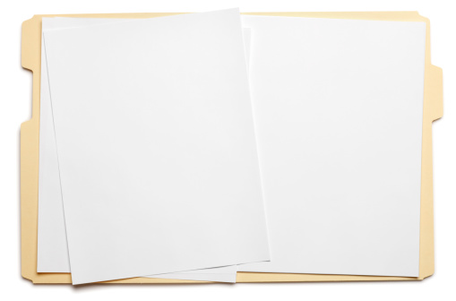 Data「Blank paper in an open file folder on white background」:スマホ壁紙(3)