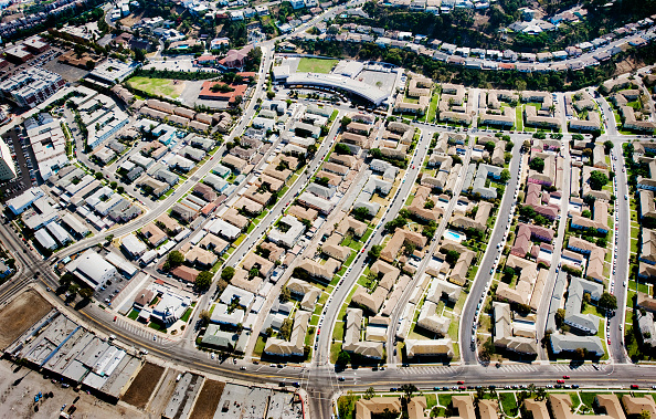 No People「Helicopter Aerial View of Residential Inner City Los Angeles, California, USA」:写真・画像(6)[壁紙.com]