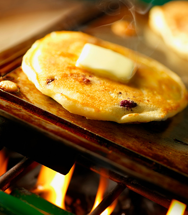 Griddle「Blueberry Pancakes on Camping Stove」:スマホ壁紙(14)
