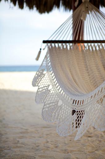 Hammock「Close up of hammock hanging on tropical beach」:スマホ壁紙(14)