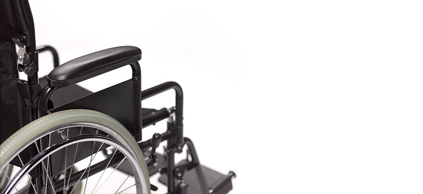 A Helping Hand「Close up of side of Wheelchair on white background, with copy space」:スマホ壁紙(17)