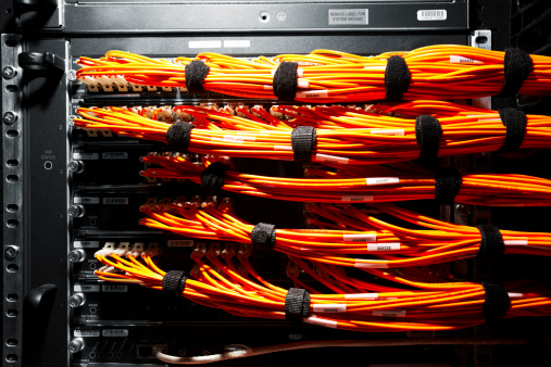 Data Center「Close up of cables connected to a server.」:スマホ壁紙(14)