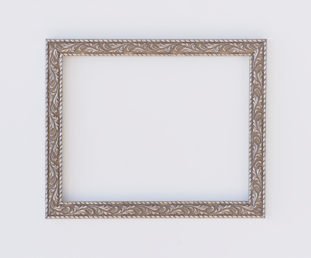 銀色「Close up of empty picture frame, studio shot」:スマホ壁紙(17)