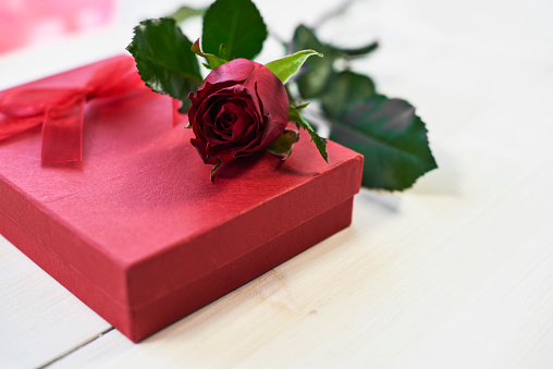Rose - Flower「Close up of red rose and small box. Debica, Poland 」:スマホ壁紙(7)