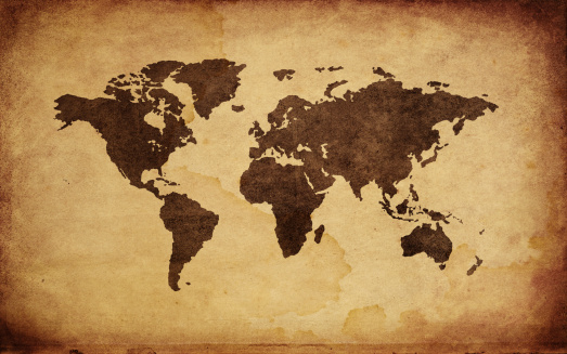 Old-fashioned「Close up of antique world map」:スマホ壁紙(16)