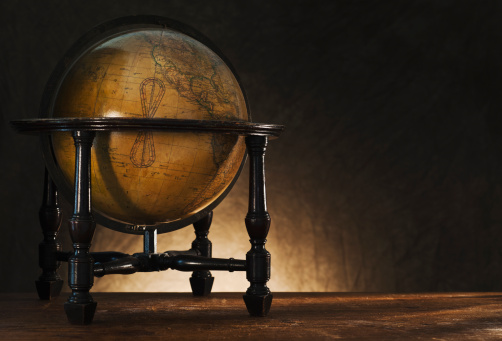Map of the world「Close up of antique globe on table」:スマホ壁紙(18)