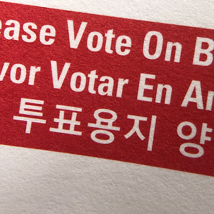 Voting Ballot「Close up of the word Vote in different languages on a mail-in ballot」:スマホ壁紙(4)