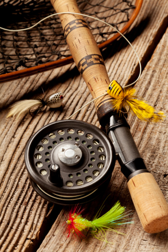 Fishing「Close up of Fly-Fishing equipment on wood Background.」:スマホ壁紙(18)