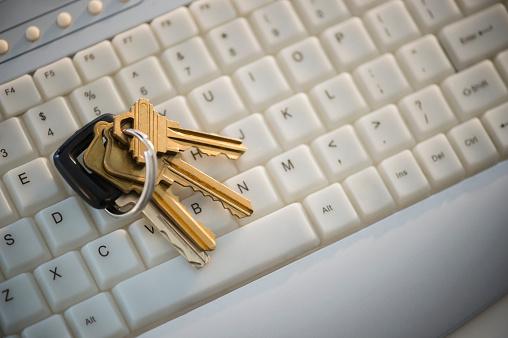 Password「Close up of keys on computer keyboard」:スマホ壁紙(10)