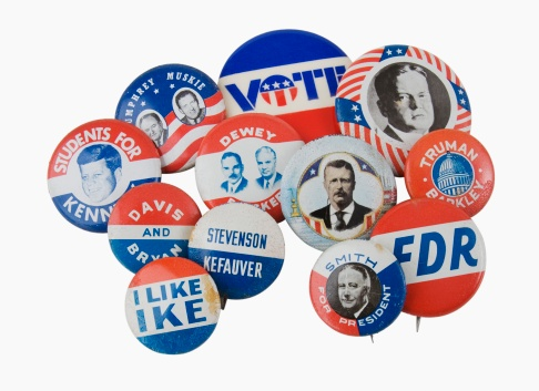 Election「Close up of assorted presidential election pins」:スマホ壁紙(1)