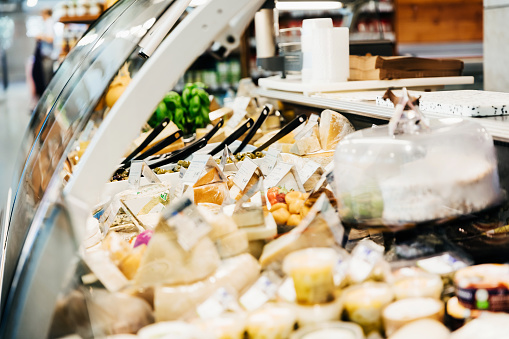 Delicatessen「Close Up Of Cheese Counter At Supermarket」:スマホ壁紙(12)