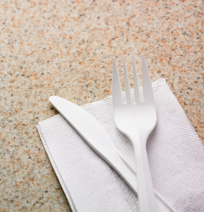 Napkin「Close up of plastic knife and fork on napkin」:スマホ壁紙(19)