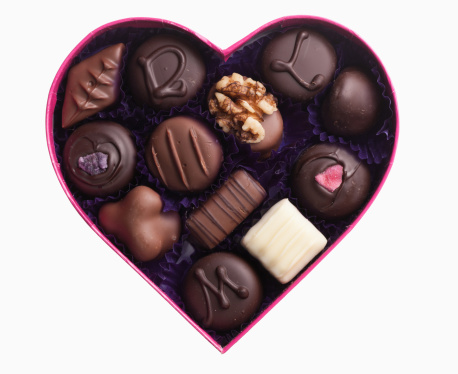 Heart Shape「Close up of chocolates in heart-shape box」:スマホ壁紙(3)