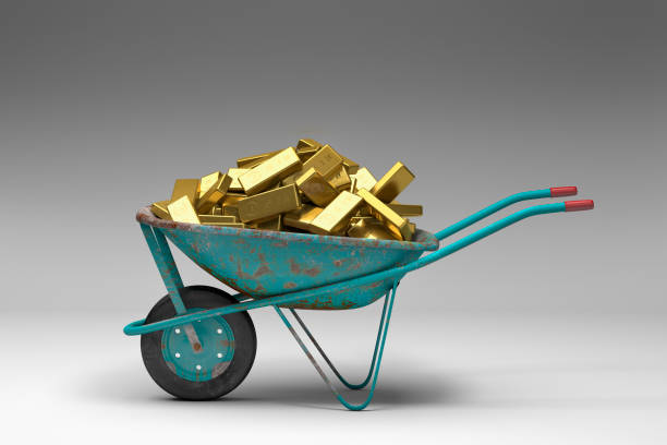 Rusty wheelbarrow full of gold bars:スマホ壁紙(壁紙.com)