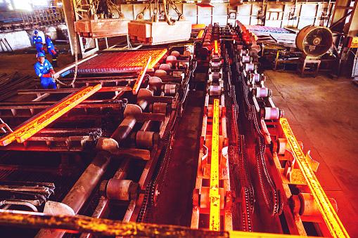 Steelmaking「Hot Steel Billets being Stacked at a Steel Factory」:スマホ壁紙(17)