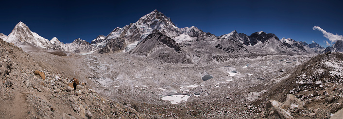 Khumbu Glacier「Panoramic banner view over the Khumbu Glacier with Nuptse above, Lobuche, Everest Base Camp Trek, Nepal」:スマホ壁紙(2)