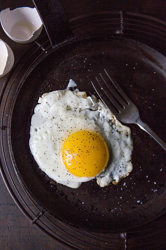 Animal Egg「Fried Sunny Side Up Egg in Frying Pan with Fork, High Angle View」:スマホ壁紙(14)