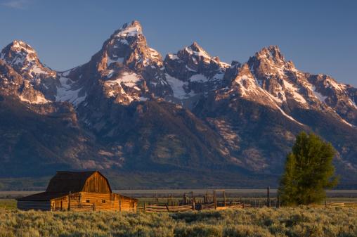 Grand Teton「Barn and snow covered Teton mountain range」:スマホ壁紙(7)