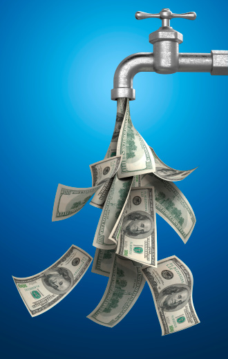 American One Hundred Dollar Bill「Money Bills Pouring Out of Water Tap on Blue Background」:スマホ壁紙(11)
