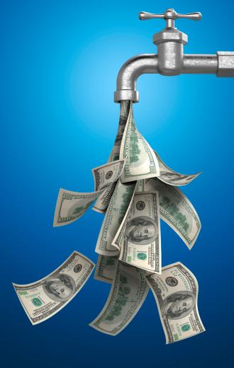 スイセン「請求書のお金を注ぐの青色の背景に水タップ」:スマホ壁紙(10)