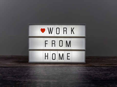 Small Office「Work from home word on lightbox.」:スマホ壁紙(2)