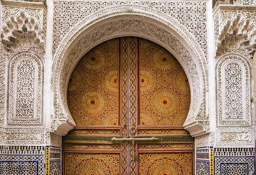 Fez - Morocco「Fes el Bali (Old Fes), Medina, detail of Sidi Ahmed Tijani Mosque door」:スマホ壁紙(13)