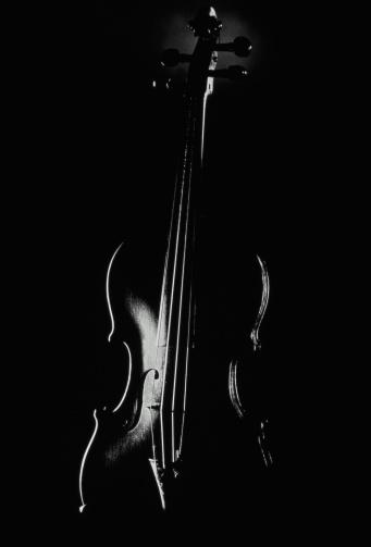 Violin「Violin against black background, heavily shadowed (B&W)」:スマホ壁紙(10)