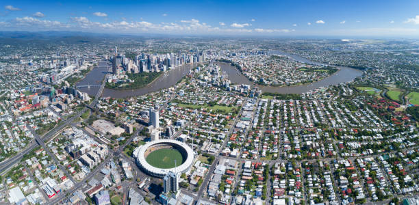 Brisbane Aerial Panorama, Queensland, Australia:スマホ壁紙(壁紙.com)