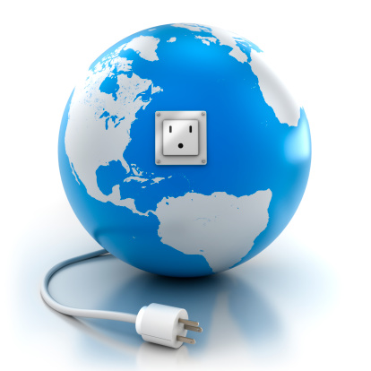 Power Supply「Earth with power socket and plug, isolated / clipping path」:スマホ壁紙(10)