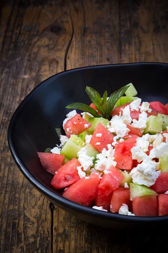 スイカ「Bowl of salad with watermelon, cucumber, mint and feta」:スマホ壁紙(7)