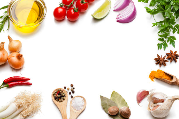 Cooking and seasoning backgrounds: vegetables, herbs and spices frame.:スマホ壁紙(壁紙.com)