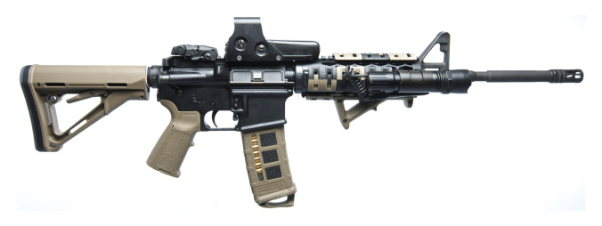 Semi-Automatic Pistol「Rock River Arms AR-15 rifle equipped with combat light..」:スマホ壁紙(4)