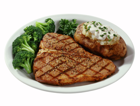 Baked Potato「T bone steak with baked potato and broccoli」:スマホ壁紙(0)