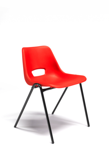 Back Of Chair「Red plastic stacking chair with copy space」:スマホ壁紙(3)